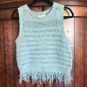 NWT Moon River Fringe Crochet Crop Muscle Tank